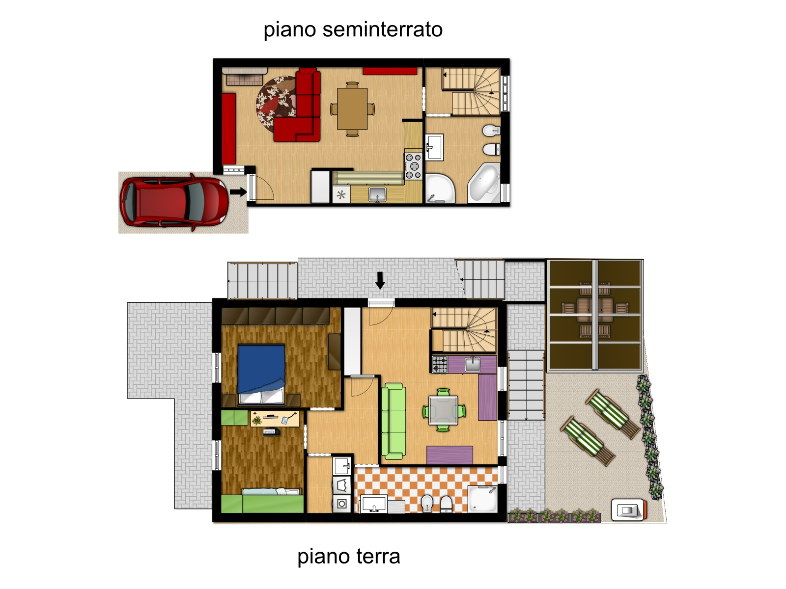 Villa a schiera in vendita in via di sotto 22 zona colli a for Piani di ponte su due livelli